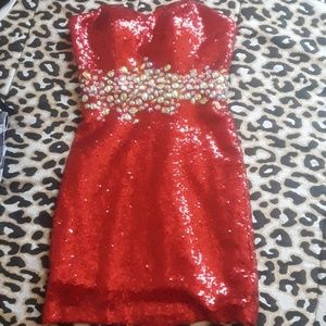 Red sequins Mini Dress with Gemstones